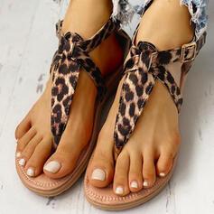 De mujer PU Tacón plano Sandalias Encaje con Rivet Hebilla Estampado de animales zapatos