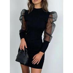 Jednobarevné Dlouhé rukávy/Balonové rukávy Přiléhavé Nad kolena Malé černé/Neformální/Elegantní Rochii