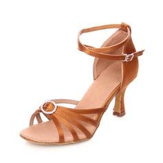 Bayanlar Latince topuk Sandalet Saten Ile Yapay elmas Ayak bileği kayışı Latince
