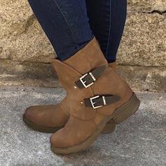 Pentru Femei Imitaţie de Piele Fară Toc Ghete Martin Deget rotund cu Cataramă Culoare solida pantofi
