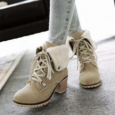 Donna Camoscio Tacco spesso Martin boots Punta rotonda con Allacciato scarpe