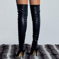 Women's Leatherette Stiletto Heel Over The Knee Boots Pointed Toe With Zipper Solid Color shoes