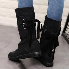 Pentru Femei Imitaţie de Piele Fară Toc Cizme Cizme până la jumătatea gambei cu Lace-up pantofi