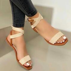 Kvinnor PU Flat Heel Sandaler Peep Toe med Spänne Ihåliga ut skor