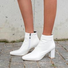 Vrouwen PU Chunky Heel Cone Heel Enkel Laarzen Lage top Hakken met Rits Effen kleur schoenen