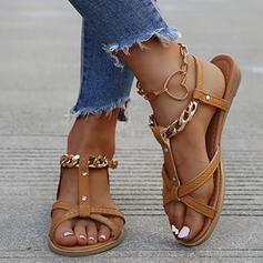 De mujer PU Tacón plano Sandalias con Hebilla Cadena Agujereado zapatos