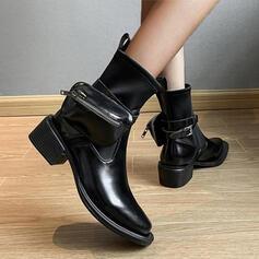 Femmes Similicuir Bottes Haut haut avec Couleur unie chaussures