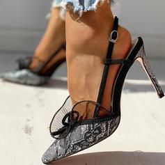 Γυναίκες Πανί Πλέγμα Ψηλό τακούνι Γοβάκια Με Πόρπη Δέσιμο δαντέλα παπούτσια