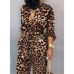 λεοπάρδαλη Hosszú ujjú Hétköznapokra Kombinezony φορέματα