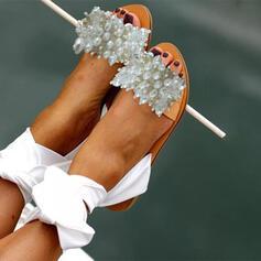 Női PU Lapos sarok Szandál Peep Toe -Val Pearl utánzat cipő