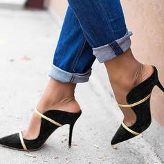 Mulheres PU Salto agulha Bombas Chinelos com Fivela sapatos