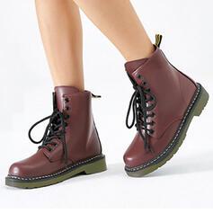 Dla kobiet Skóra ekologiczna Niski Obcas Zakryte Palce Kozaki Martin Buty Round Toe Z Sznurowanie obuwie