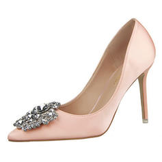 Women's Satin Stiletto Heel Pumps Closed Toe With Rhinestone shoes