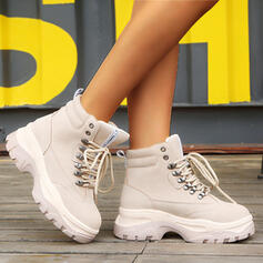 Women's Suede Wedge Heel Platform Boots Heels Winter Boots Combat Boots With Lace-up shoes