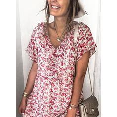 Nadrukowana/Kwiatowy Krótkie rękawy Koktajlowa Tunika Casual Midi Sukienki