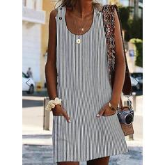Striped Sleeveless Shift Above Knee Casual Tank Dresses