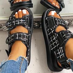 De mujer Tejido Tacón plano Sandalias Encaje con Velcro zapatos
