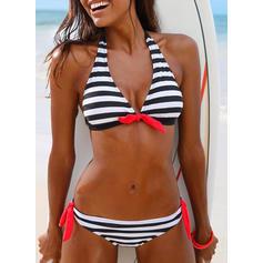 Stripe Low Waist Halter Elegant Bikinis Swimsuits