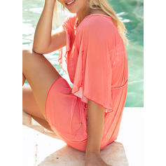 Solid Color Mesh Round Neck Strapless Sexy Classic Cover-ups Swimsuits