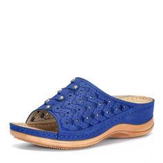 De mujer Cuero Tacón plano Sandalias Encaje Solo correa Pantuflas con Agujereado zapatos