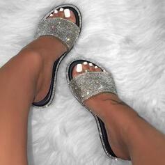 De mujer PU Tacón plano Sandalias Planos Encaje Pantuflas con Brillo Chispeante Color de empalme zapatos