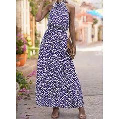 Nadrukowana Bez rękawów W kształcie litery A Łyżwiaż Casual/Elegancki Maxi Sukienki