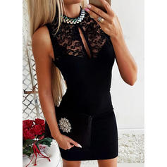 Lace/Solid Sleeveless Bodycon Above Knee Little Black/Party/Elegant Dresses