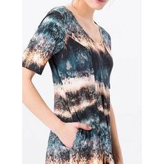 Tie Dye Krótkie rękawy Koktajlowa T-shirt Casual/Wakacyjna Midi Sukienki