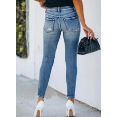 arricciato Strappata Elegante Sexy Scheletrico Denim & Jeans