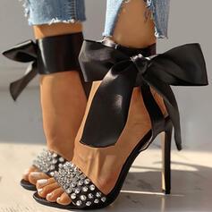 De mujer PU Tacón stilettos Sandalias Salón Encaje con Bowknot Rivet zapatos