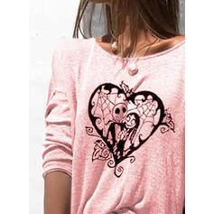 Valentine's den Srdce Tisk Kulatý Výstřih Dlouhé rukávy Trička