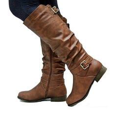 Naisten PU Matala heel Round Toe jossa Solki Ruched Vetoketju Solid Color kengät