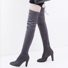 Mulheres Camurça Salto agulha Salto robusto Bota em cima do joelho com Zíper Aplicação de renda sapatos