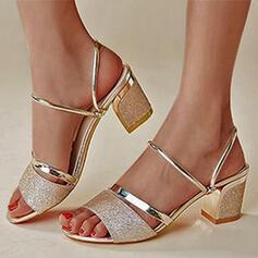 De mujer PU Tacón ancho Sandalias Salón con Lentejuelas Agujereado zapatos