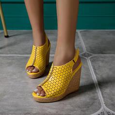 De mujer PU Tipo de tacón Sandalias Cuñas Encaje con Hebilla Agujereado zapatos