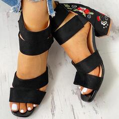 De mujer Ante Tacón ancho Salón con Cremallera Flor zapatos