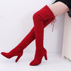 De mujer Ante Tacón stilettos Botas sobre la rodilla con Cremallera zapatos