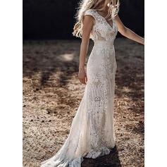 Lace/Solid Cap Sleeve Sheath Party/Elegant/Vacation Maxi Dresses