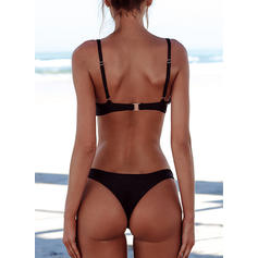 Solid Color Low Waist Strap U-Neck Sexy Bikinis Swimsuits