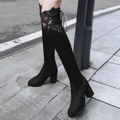 Pentru Femei Piele de Căprioară Toc gros Cizme Gizme Peste Genunchi Ghete Martin cu Dantelă Împletită Lace-up Bandă Elastică pantofi