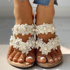 De mujer PU Tacón plano Pantuflas con Perlas de imitación Flor zapatos