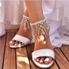 De mujer Cuero Tacón ancho Sandalias Encaje con Rhinestone Perla Perlas de imitación Brillo Chispeante Hebilla zapatos