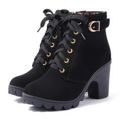 Dámské PU Široký podpatek Boty Podpatky S Přezka Šněrovací Solid Color obuv