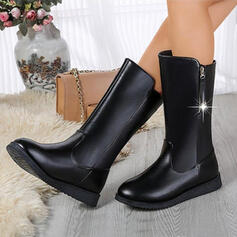 Women's PU Wedge Heel Boots With Solid Color shoes