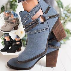 Pentru Femei PU Toc gros Botine Cu vârful cu Ştrasuri Cataramă pantofi