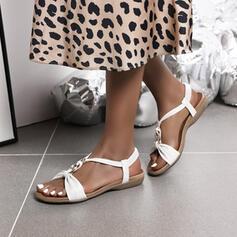 De mujer PU Tacón plano Sandalias Planos con Hebilla zapatos