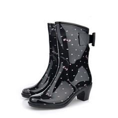 Mulheres PVC Salto robusto Botas Botas na panturrilha Botas de chuva com Bowknot sapatos