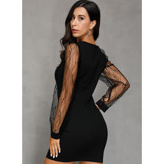 Sólido Manga Larga Ajustado Sobre la Rodilla Pequeños Negros/Fiesta/Elegante Vestidos