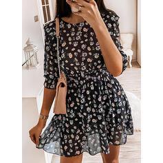 Impresión/Floral Manga Larga Acampanado Sobre la Rodilla Casual Vestidos