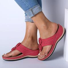 Dla kobiet Zamsz PU Płaski Obcas Sandały Plaskie Otwarty Nosek Buta Japonki Kapcie Z Kokarda Jednolity kolor Coś pozszywanego z kawałków obuwie